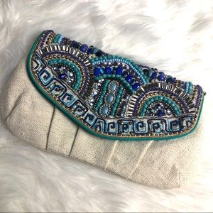 Chico's Beaded Teal/Blue/Cream Clutch/Handbag